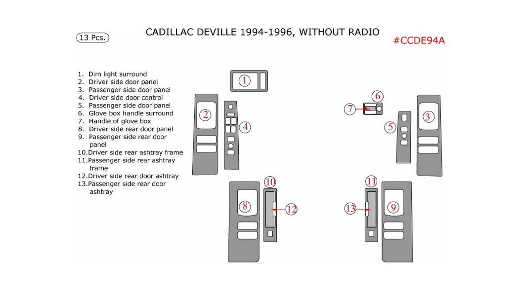 Cadillac Deville 1994-1996, Interior Kit, For Models