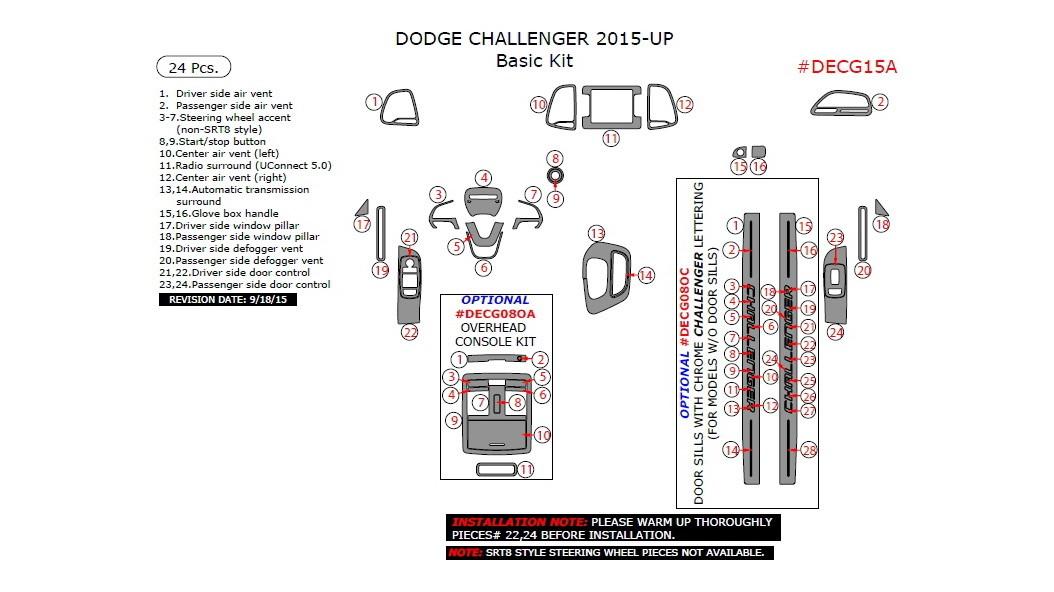 Dodge Challenger 2015-UP, Basic Interior Kit, 24 Pcs.