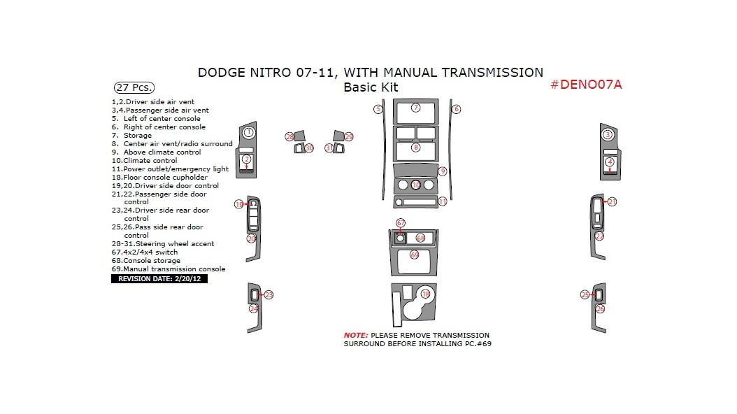Dodge Nitro 2007-2011, With Manual Transmission, Basic