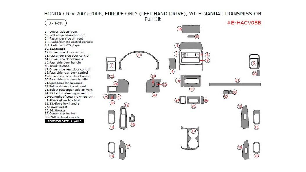 Honda CR-V 2005-2006, With Manual Transmission, Full