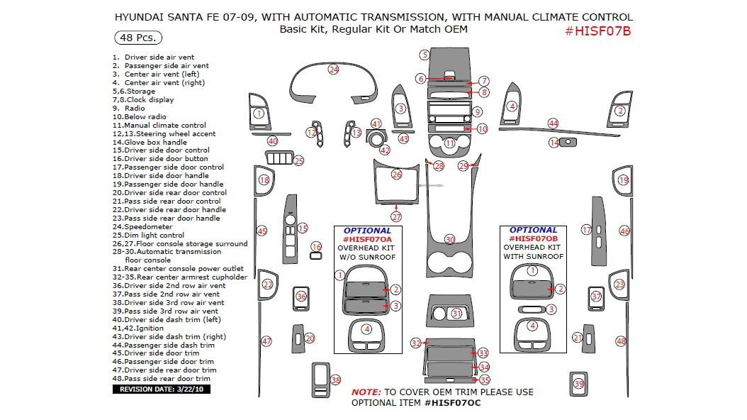 Hyundai Santa Fe 2007-2009, With Automatic Transmission