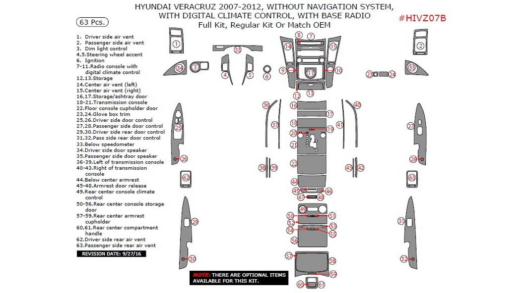 Hyundai Veracruz 2007-2012, W/o Navigation System, With