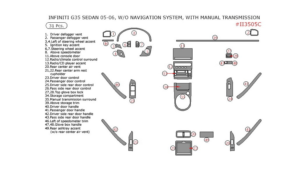 Infiniti G35 2005-2006, Interior Dash Kit, Sedan, W/o