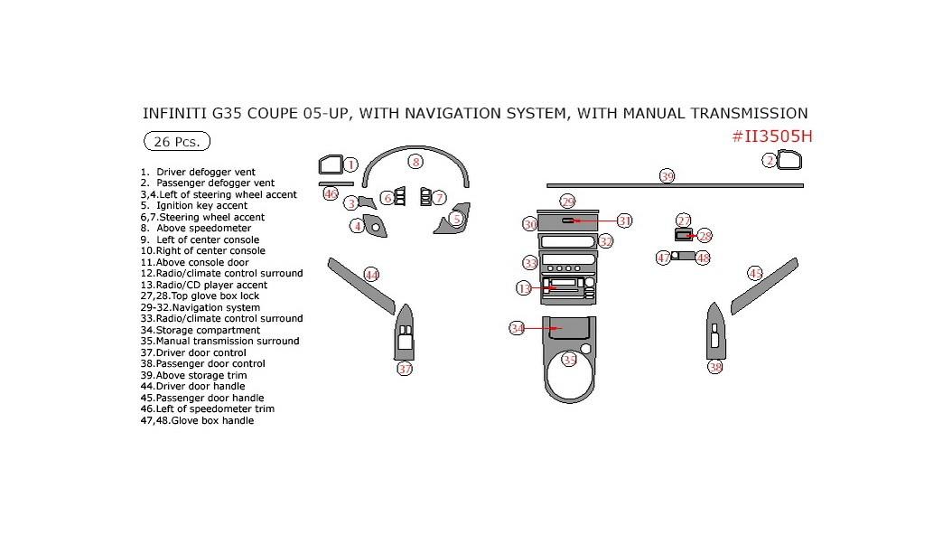 Infiniti G35 2005-2007, Interior Dash Kit, Coupe, With