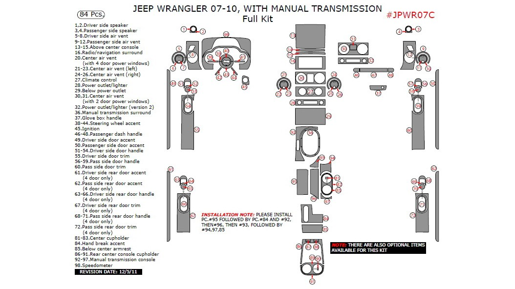 Jeep Wrangler 2007-2010, With Manual Transmission, Full