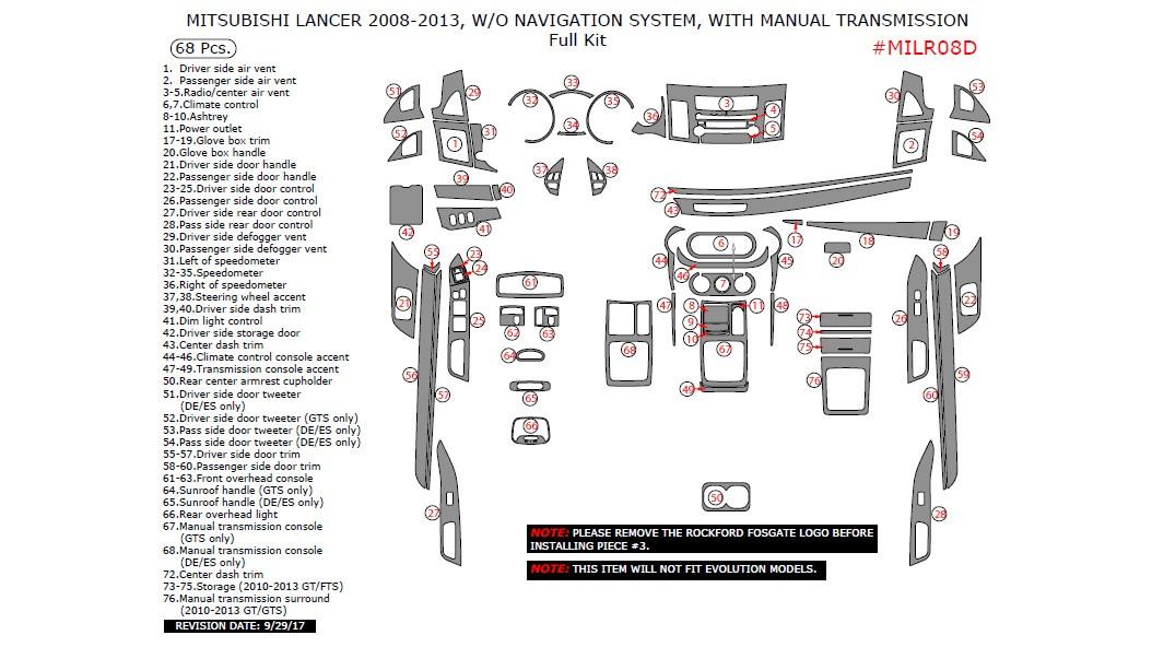 Mitsubishi Lancer 2008-2013, Without Navigation System
