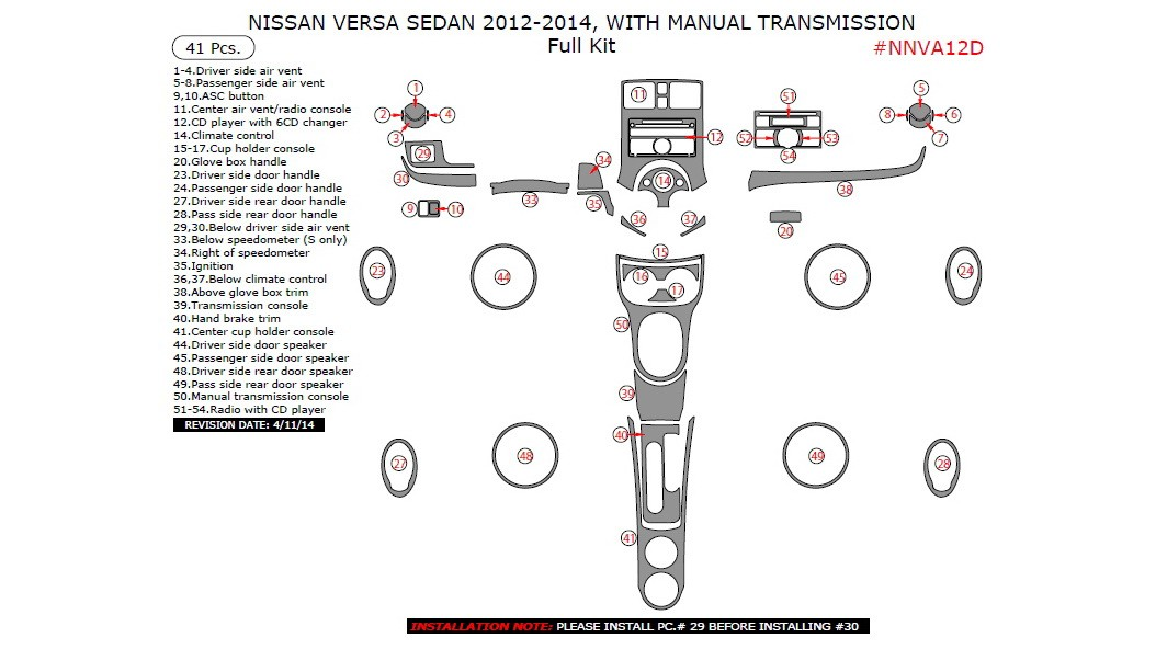 Nissan Versa 2012-2014, With Manual Transmission, Full