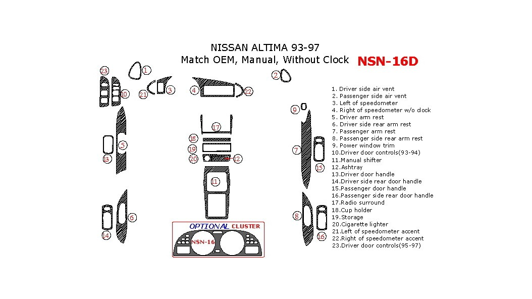 Nissan Altima 1993-1997, Interior Dash Kit, Manual