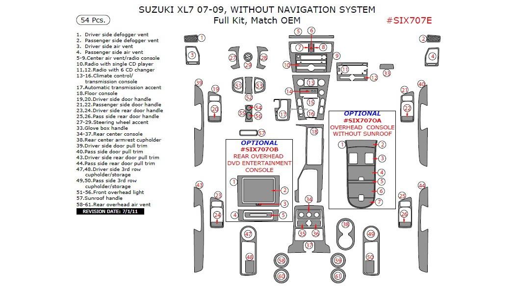 Suzuki XL-7 2007-2009, Without Navigation System, Full