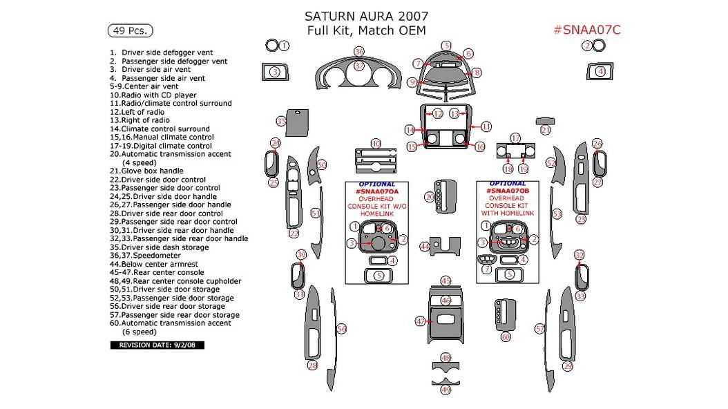 Saturn Aura 2007, Full Interior Kit, 49 Pcs., Match OEM