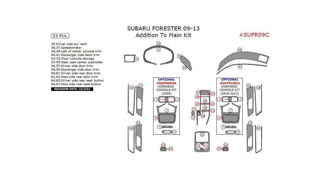 Subaru Forester 2009-2013, Addition To Main Interior Kit