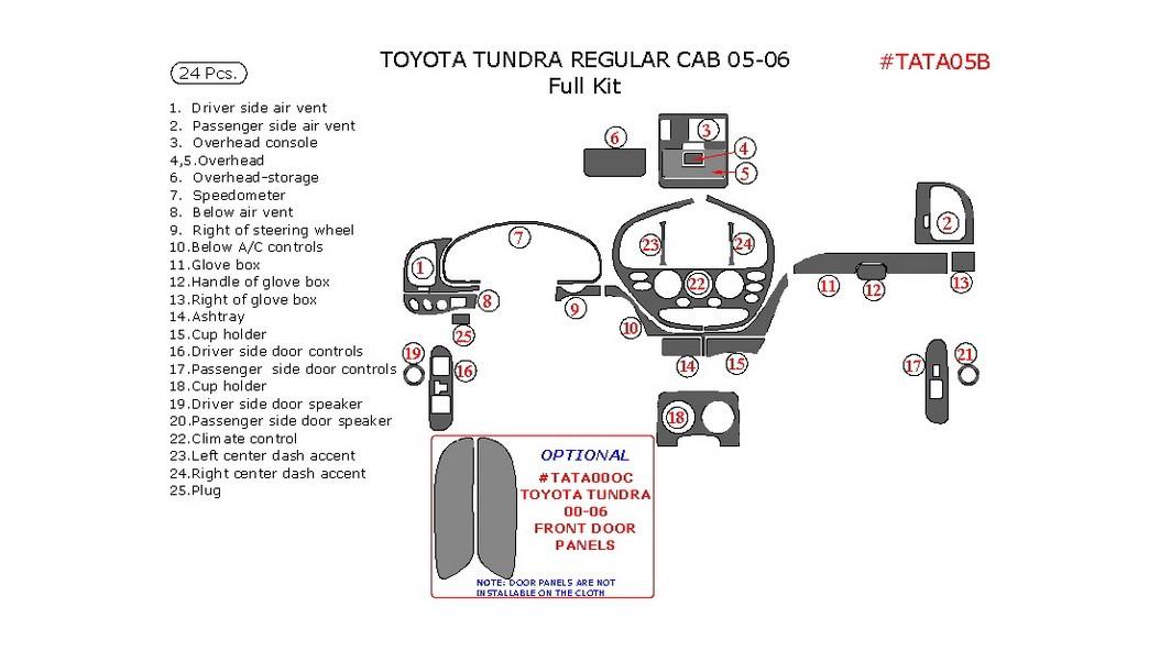 Toyota Tundra 2005-2006, Regular Cab, Full Interior Kit