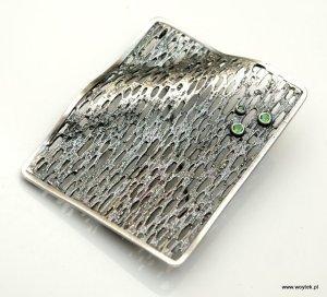 Srebrny broszko-wisior Trawiony z cyrkonią