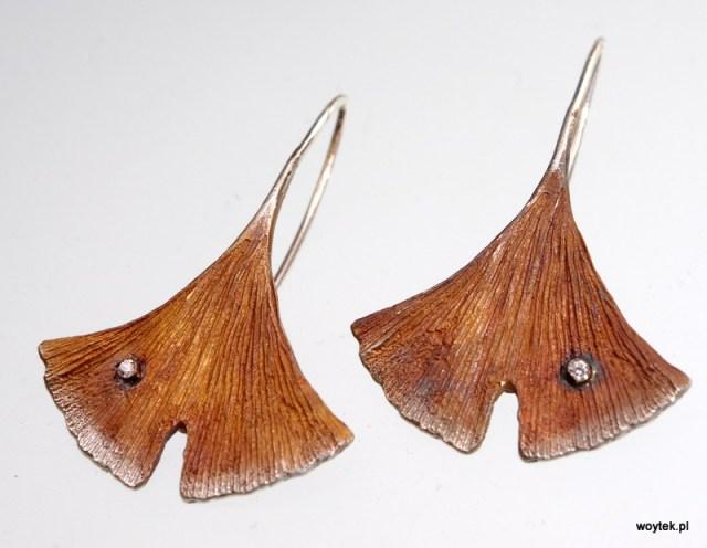 Kolczyki Ginko długie z cyrkonią srebro oksydowane lub pozłacane