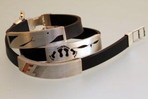 Srebrne bransolety ażurowe na sylikonie