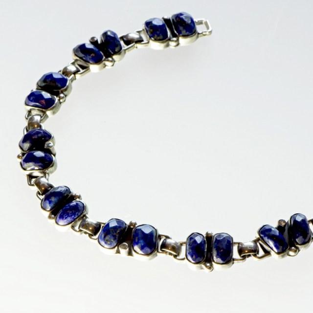 Srebrna bransoletka z lapisem lazulii