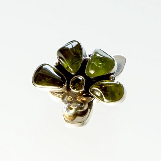 Srebrne klipsy Półkwiatki z kamieniami naturalnymi i cyrkonią