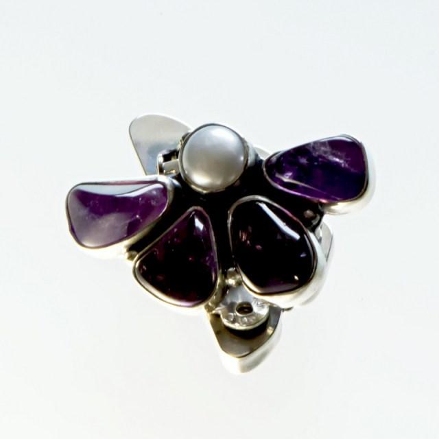 Srebrne klipsy Półkwiaty z kamieniami naturalnymi i perłą