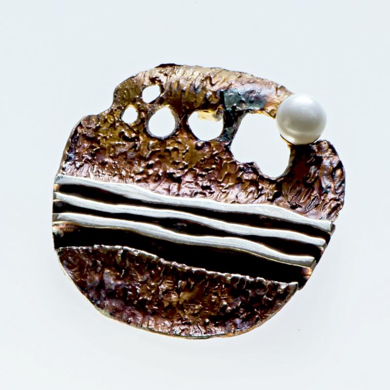 Srebrny broszko-wisior Rzeka z perłą