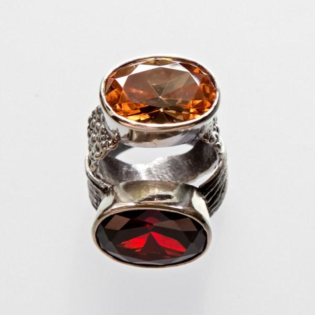 Srebrny pierścionek Płaszczka i Faktura z cyrkoniami