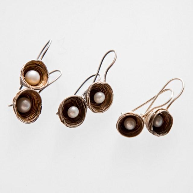 Srebrne kolczyki Gniazdka z perłami