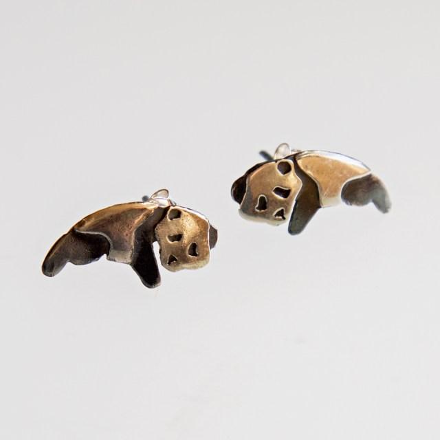 Srebrne kolczyki Pandy