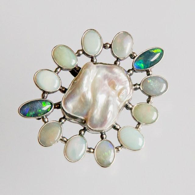 Srebrny broszko-wisior Barokowa Perła z kamieniami naturalnymi