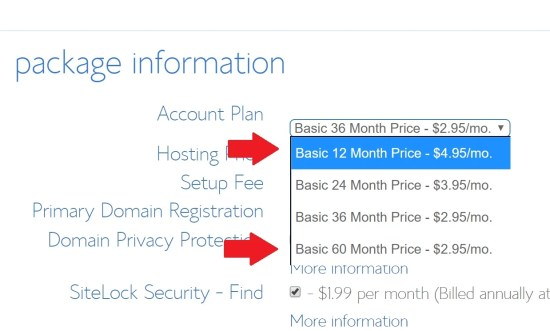 The best Bluehost deals are for 36 months minimum subscription