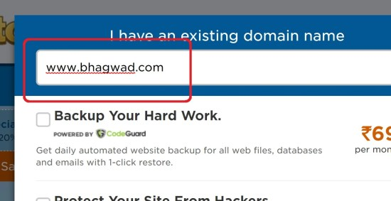 Enter the domain name you want or already have