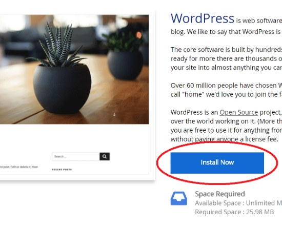 WordPress Softaculous - Install Now