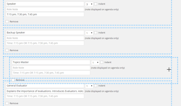 The Agenda Setup editor allows you to drag-and-drop elements to reorder them