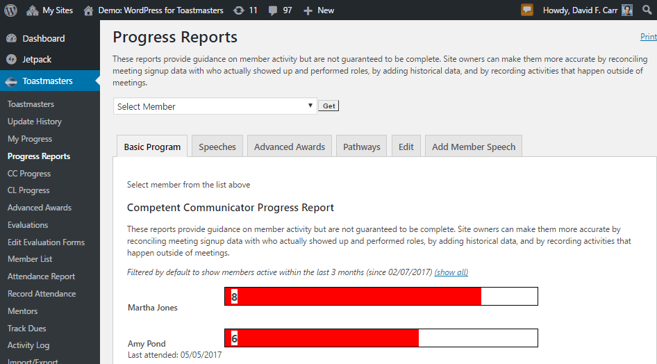 Tracking, Updating Member Speech and Project History
