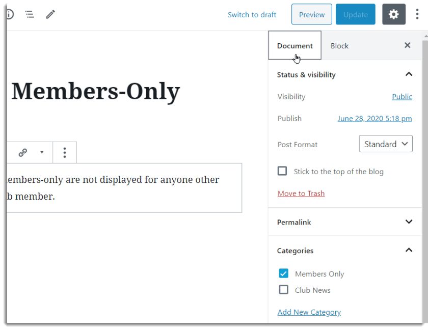 Setting the Members Only category for a blog post