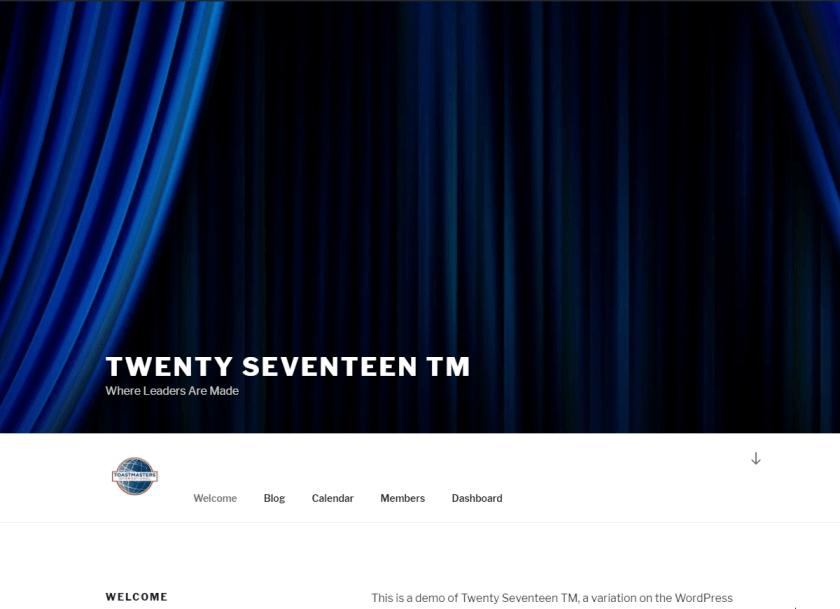 Screenshot: Twenty Seventeen TM theme for Toastmaters club websites