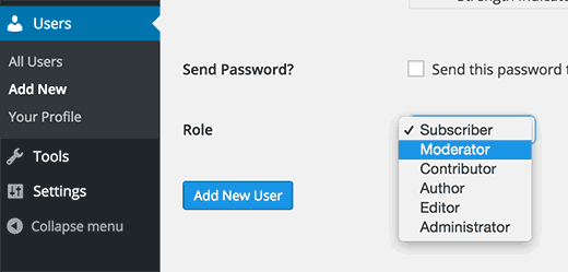 Selecting moderator user role while adding a new user in WordPress