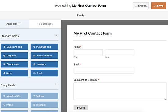 Editing your contact form