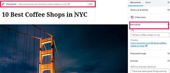 Changing a post's URL slug or Permalink