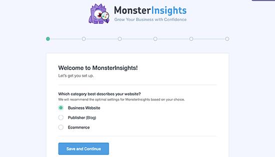 Trình hướng dẫn thiết lập MonsterInsights