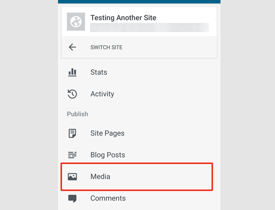Media menu in WordPress app
