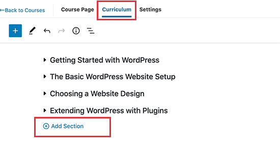 Add course sections in MemberPress