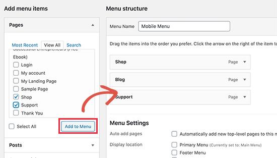 Adding menu items