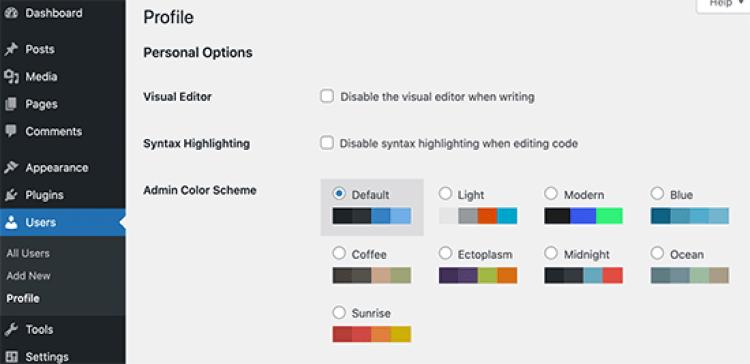 Palettes de couleurs d'administration dans WordPress