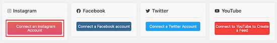 Connect social media accounts to social wall