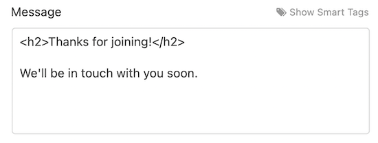 Custom email message