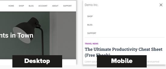 Different menus on desktop and mobile screens