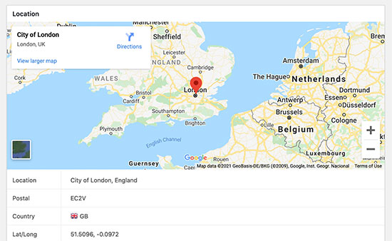 Geolocation pointed on Google map for your WordPress lead form