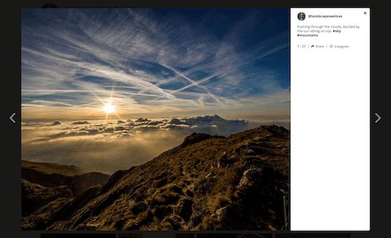 Instagram feed plugin lightbox