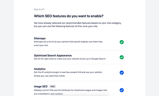 Turn on SEO features