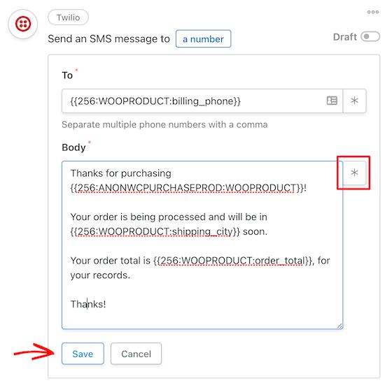 Customize Twilio SMS message