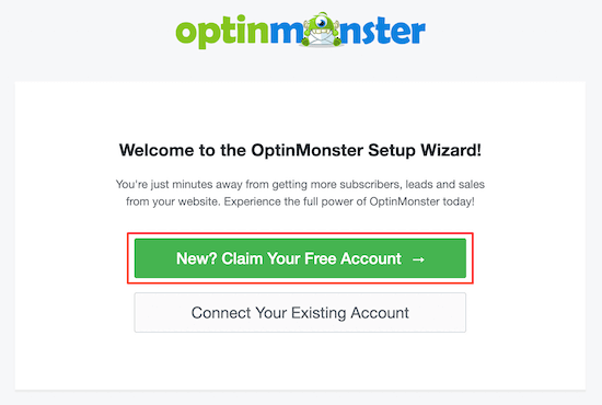 OptinMonster setup wizard